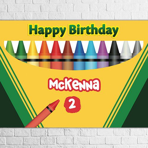 Crayon theme birthday party backdrop design