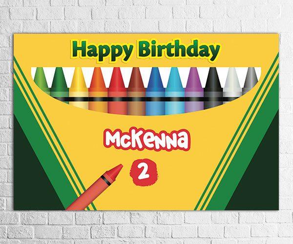 Crayon theme birthday party backdrop design