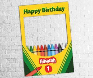 crayon theme birthday photo frame