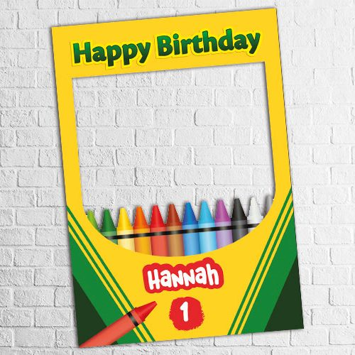 crayon theme birthday photo frame