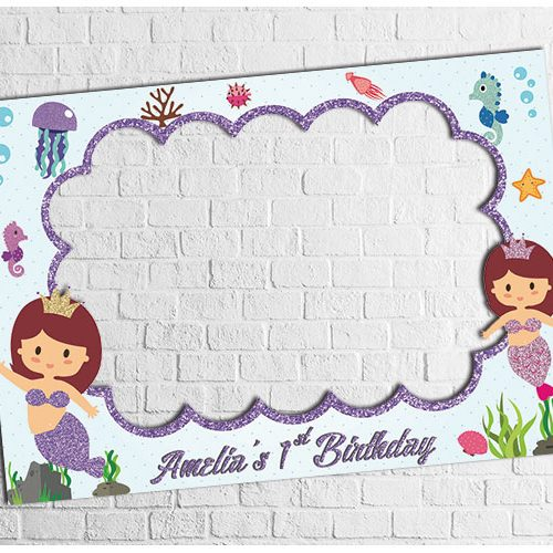 Mermaid Theme Party photo frame design