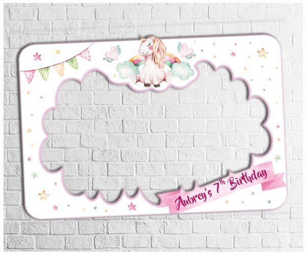 unicorn theme party photo frame